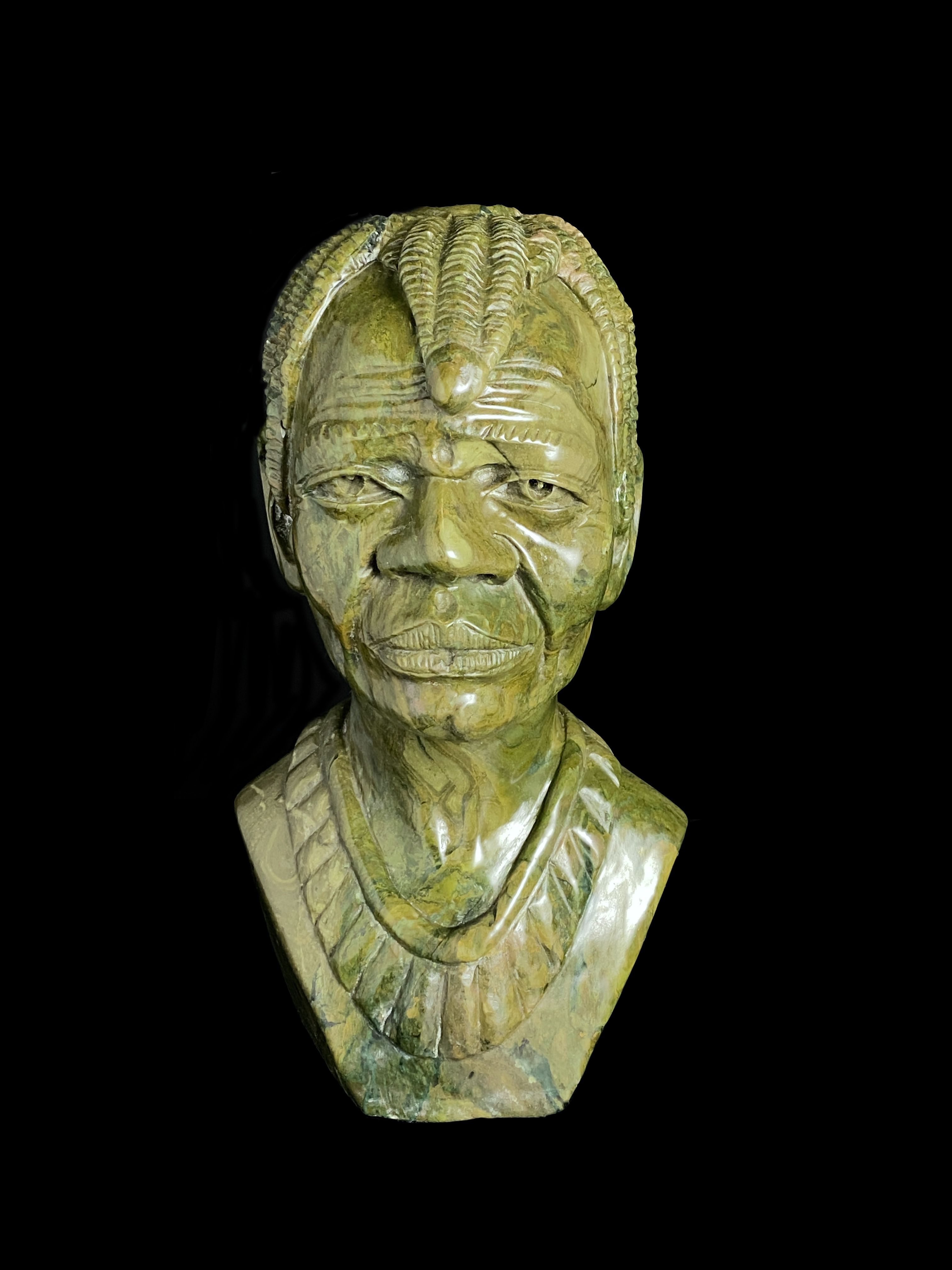 Realistic Bust entitled Noble Man, carved from Verdite Stone - by Tendayi Tandi, Zimbabwe