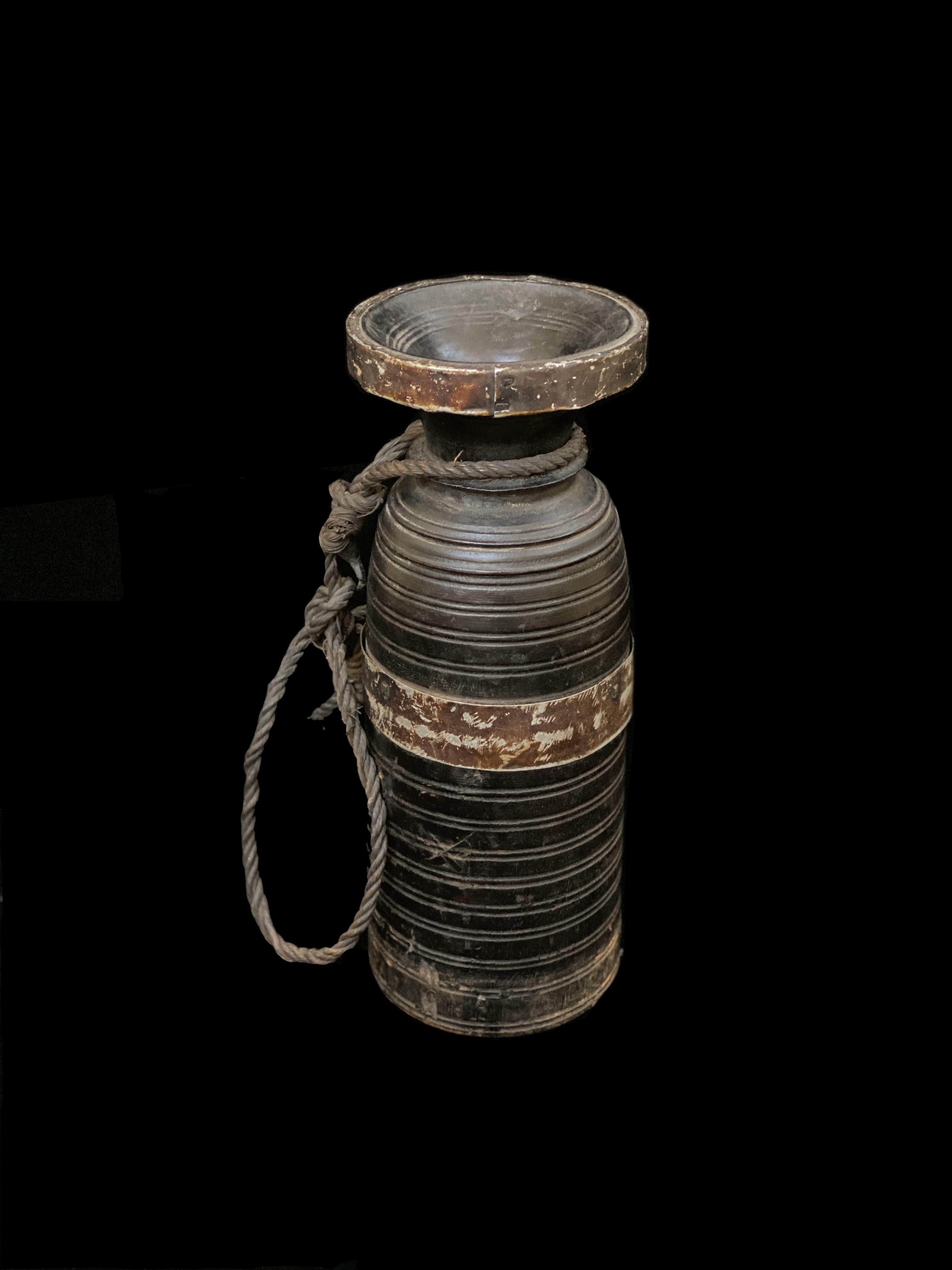 Rustic Nepalese Wooden Ghee Pot, or Jar