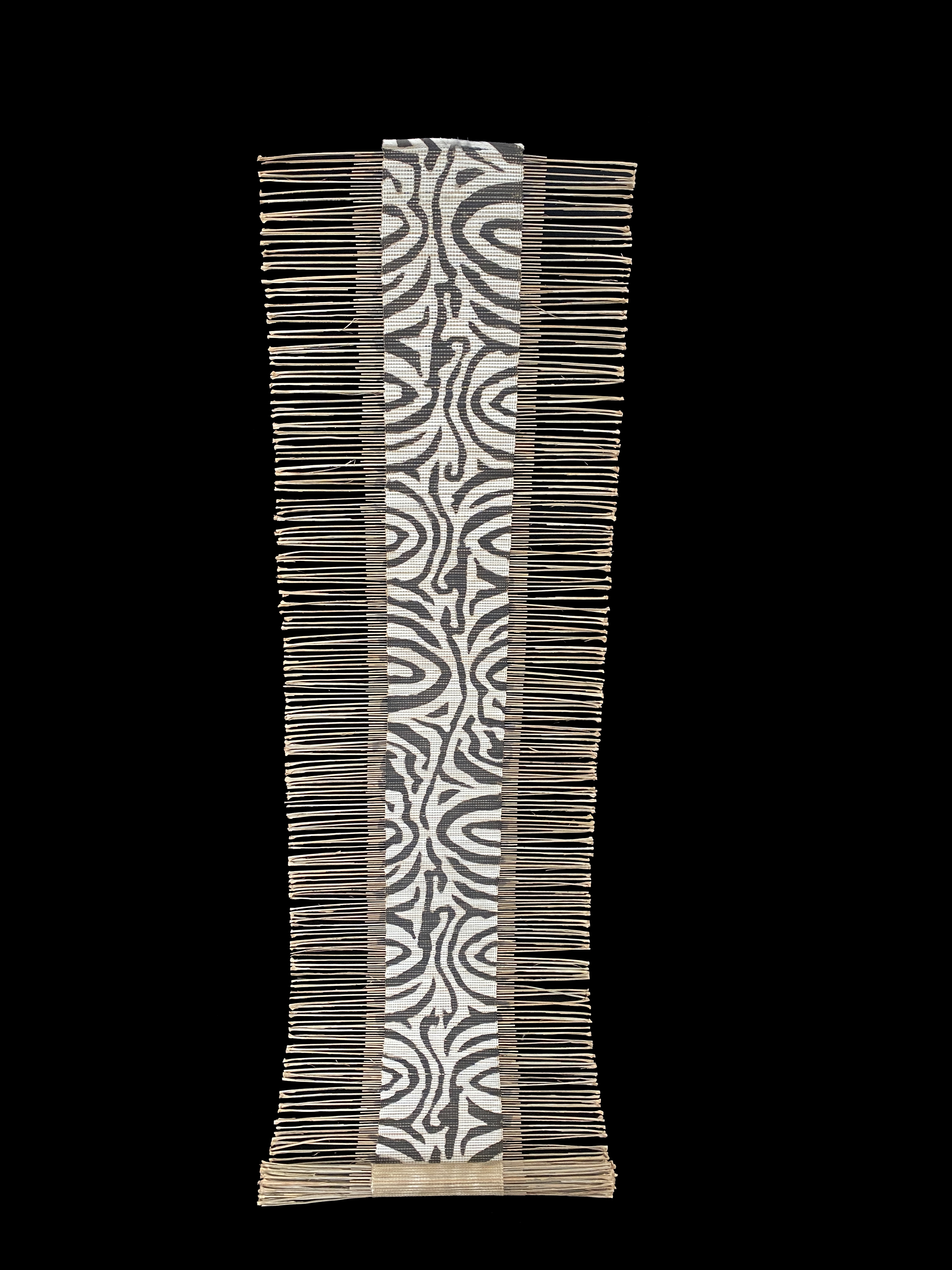 Black and White Zebra Striped African Twig and Mudcloth Table Runner or Wall Hanging - Mali