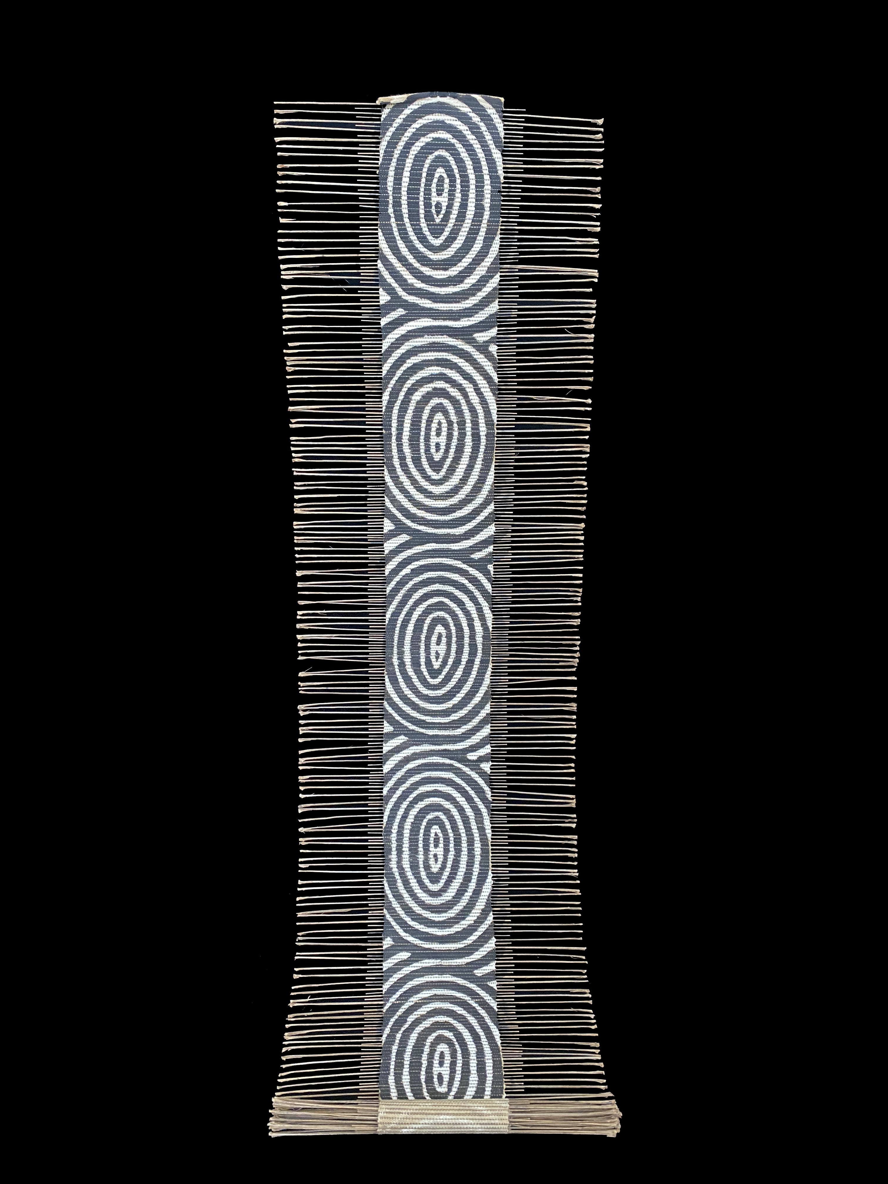 Black and White Concentric Circles African Twig and Mudcloth Table Runner or Wall Hanging - Mali
