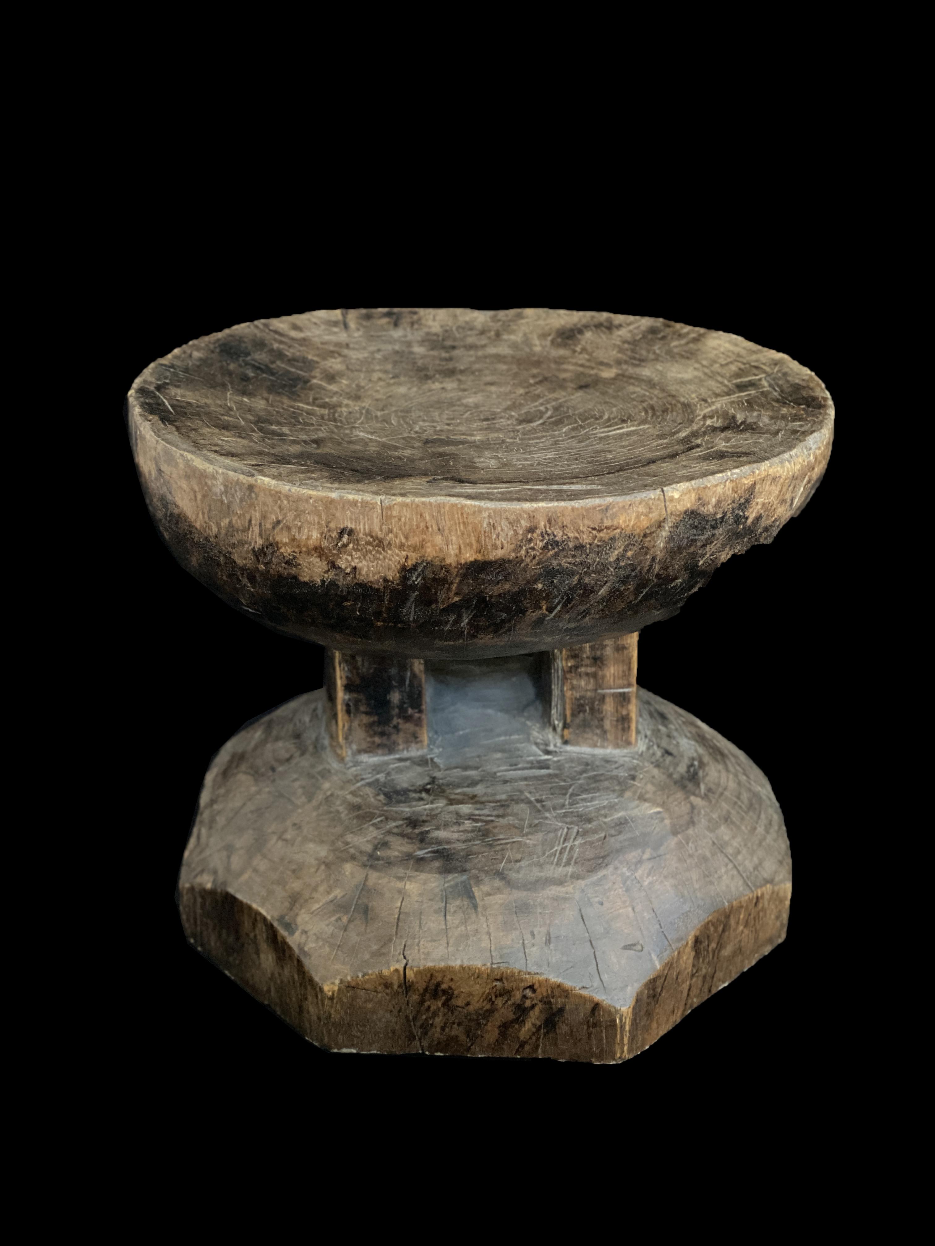 Wooden Stool with Scalloped Base - Lozi People, Zambia
