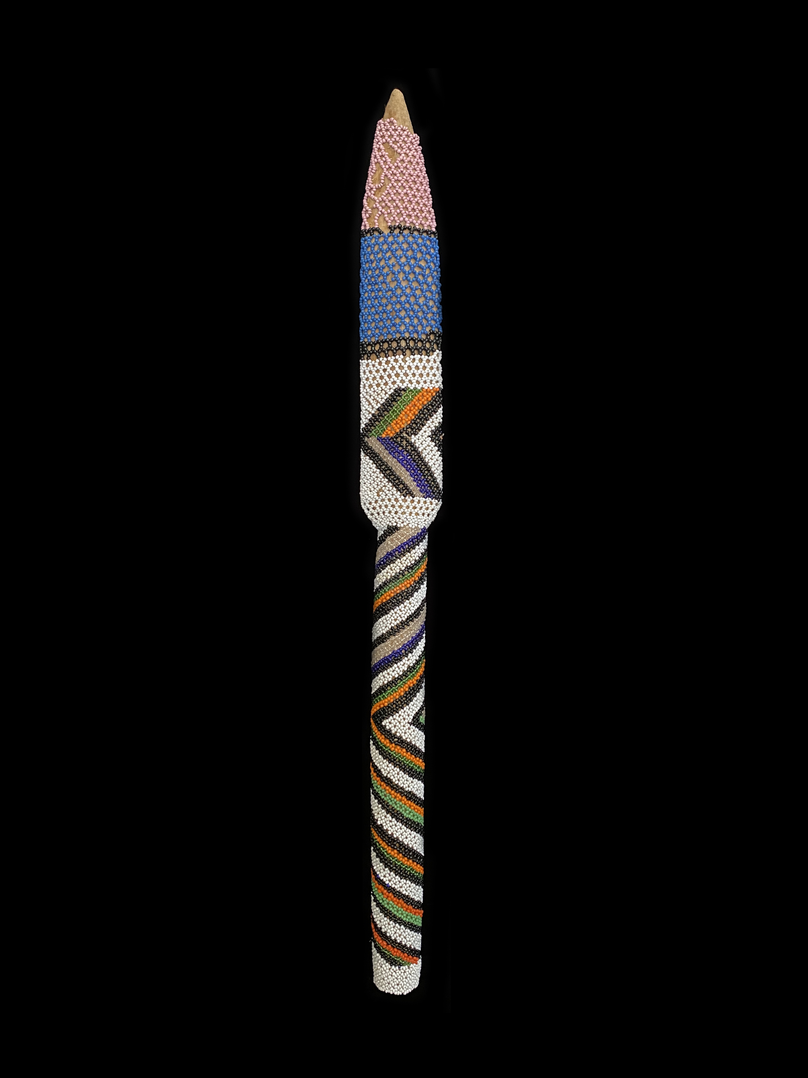 Spear Shaped Beaded Dance Mace - Ndebele People, South Africa