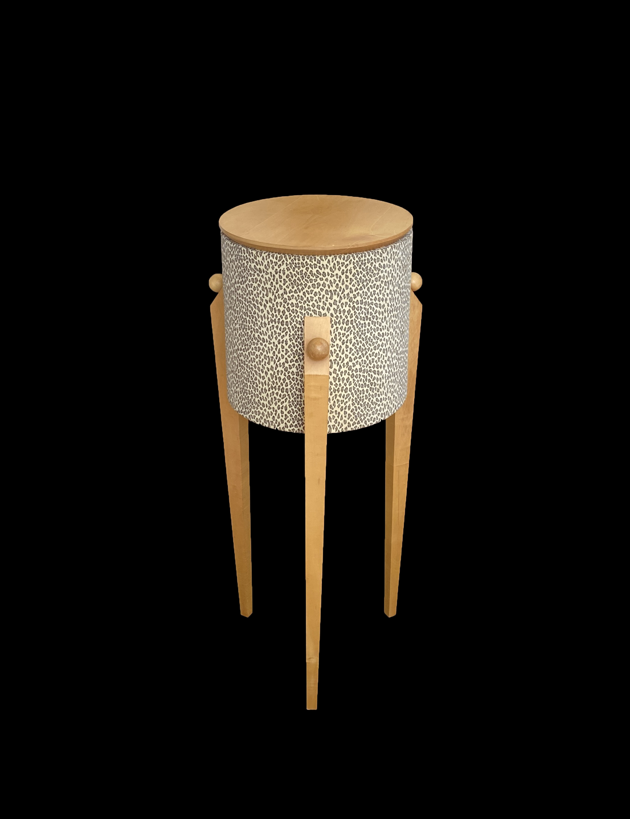 Leopard Pattern Maple Wood Pedestal