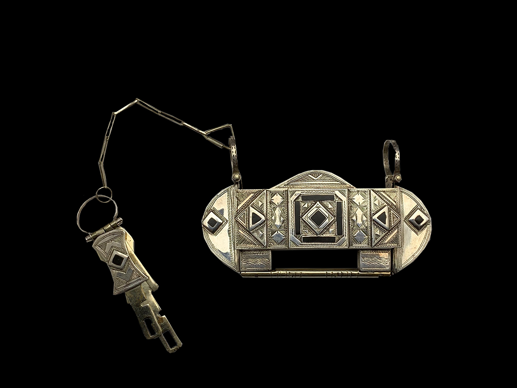 Sterling Silver and Ebony Lock and Keys - Tuareg People, Nomads of the South Sahara.