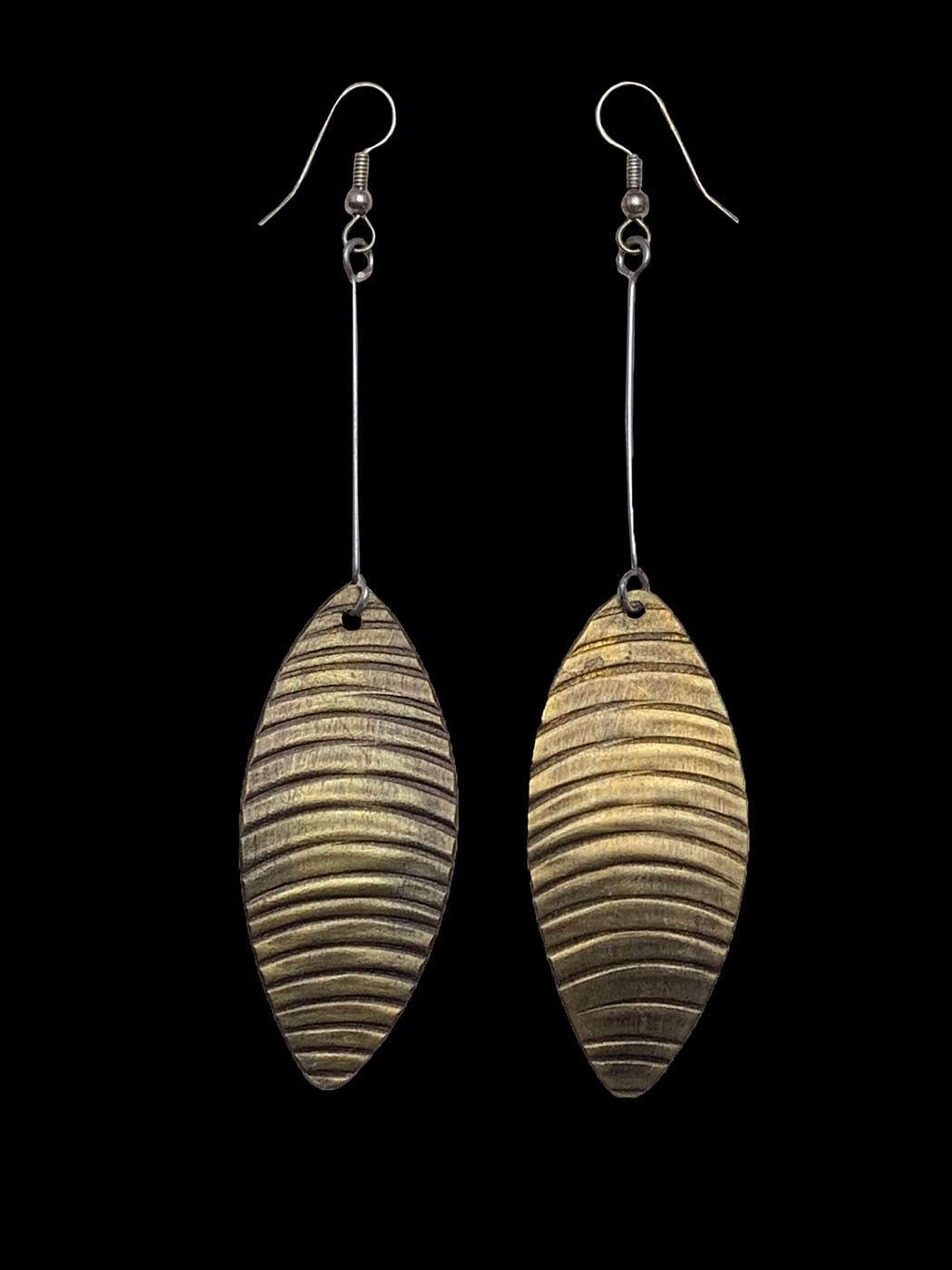Leaf Shaped and Patterned Earrings - Kenya