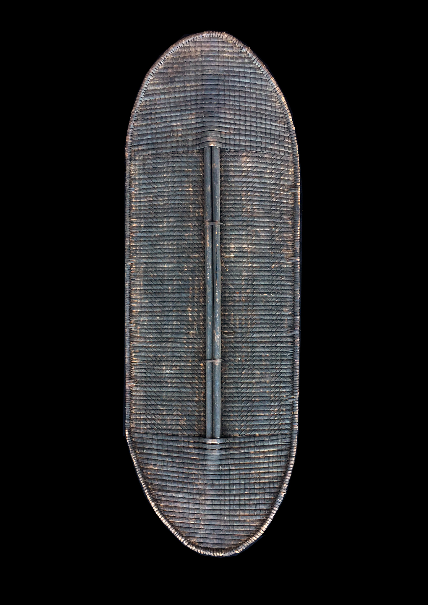 Basketry Shield with Wooden Frame and Handle - Mongo Region, D.R. Congo