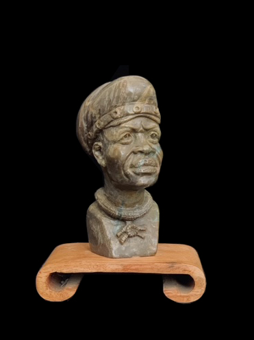 Content Man - Small Realistic Bust carved from Verdite Stone - Zimbabwe