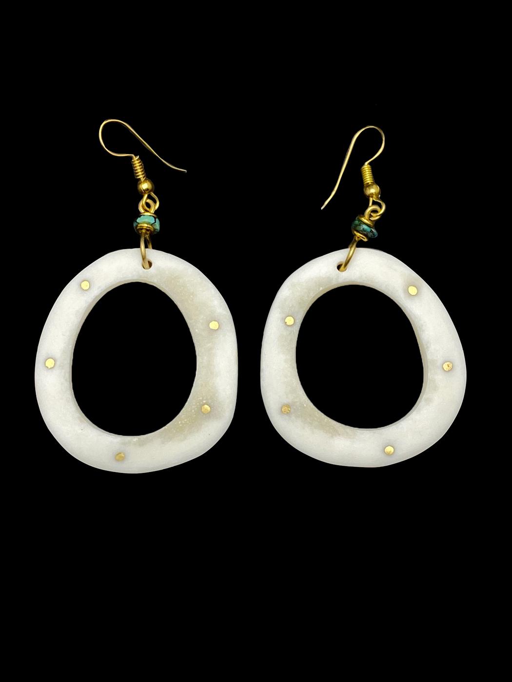 Bone, Brass and Turquoise Earrings - Kenya