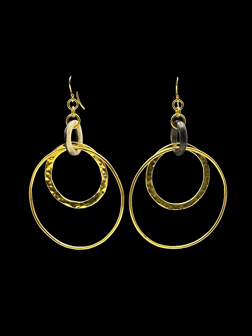 Hammered Brass and Horn Earrings - Kenya