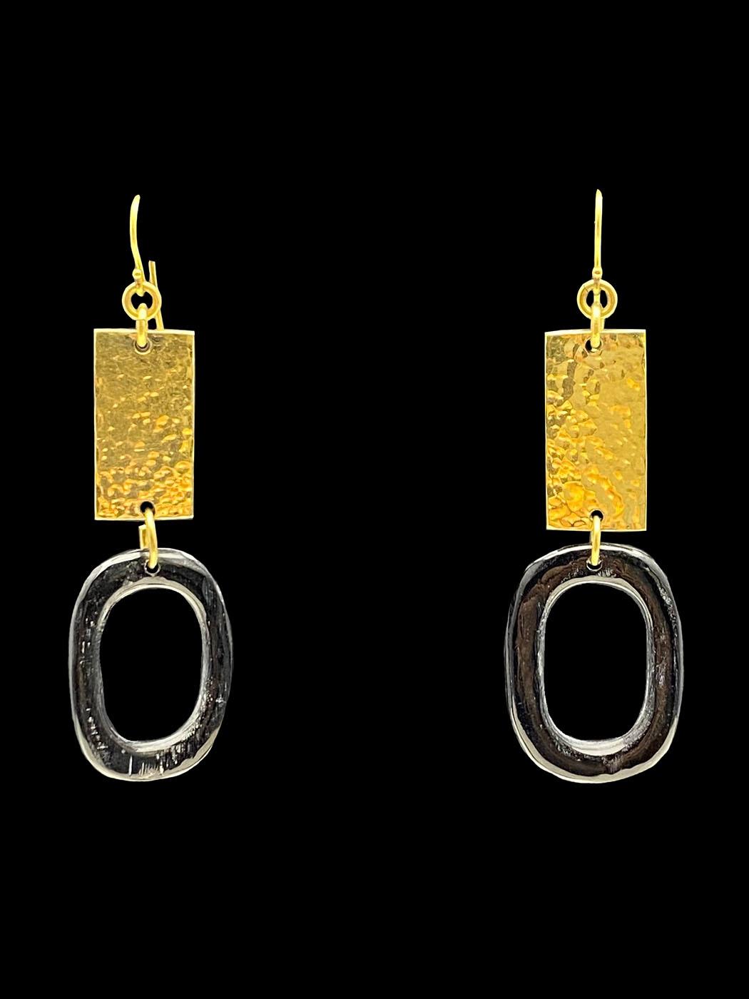 Rectangular Hammered Brass and Horn Earrings - Kenya