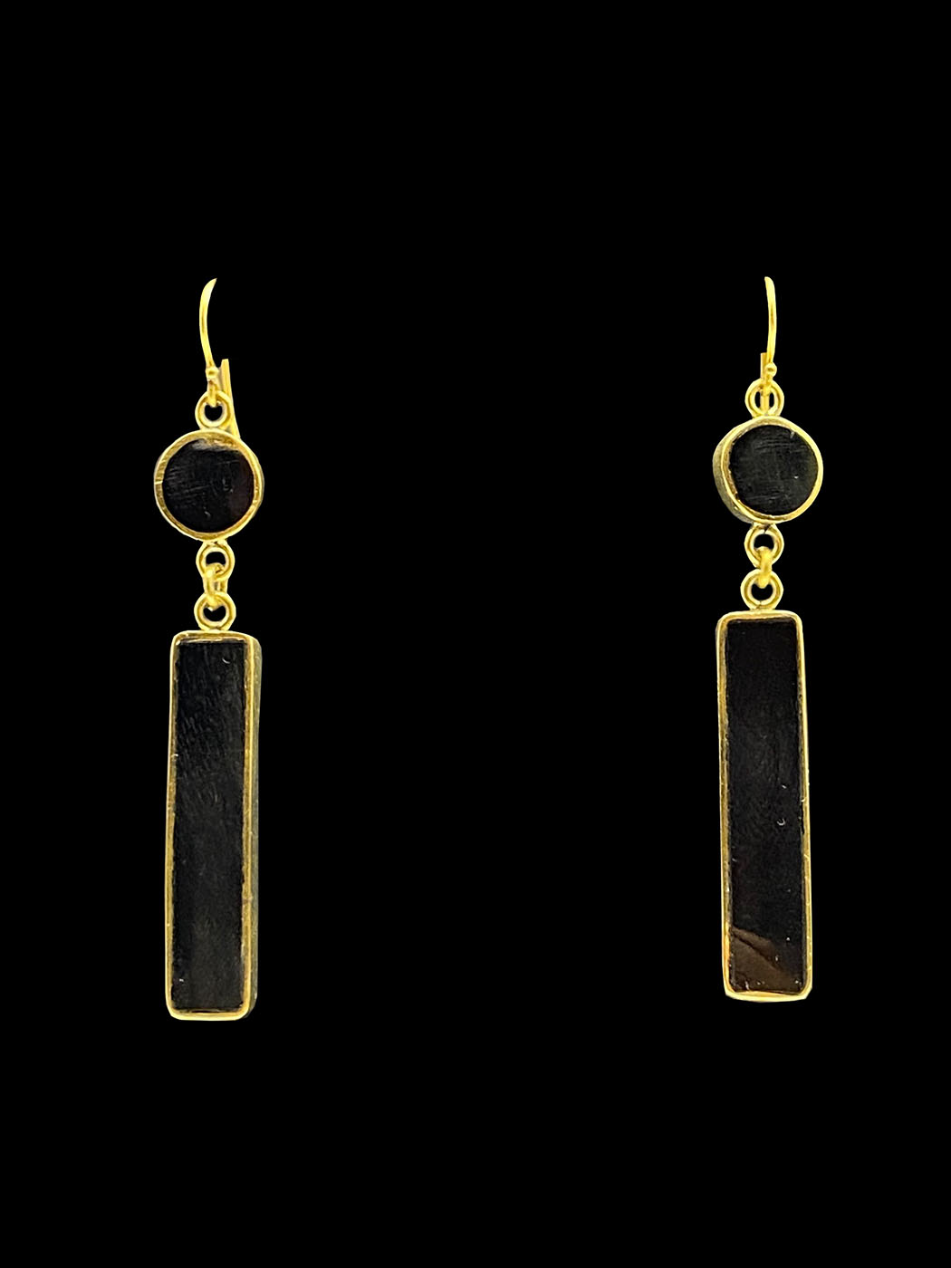Horn Earrings with Brass Trim - Kenya