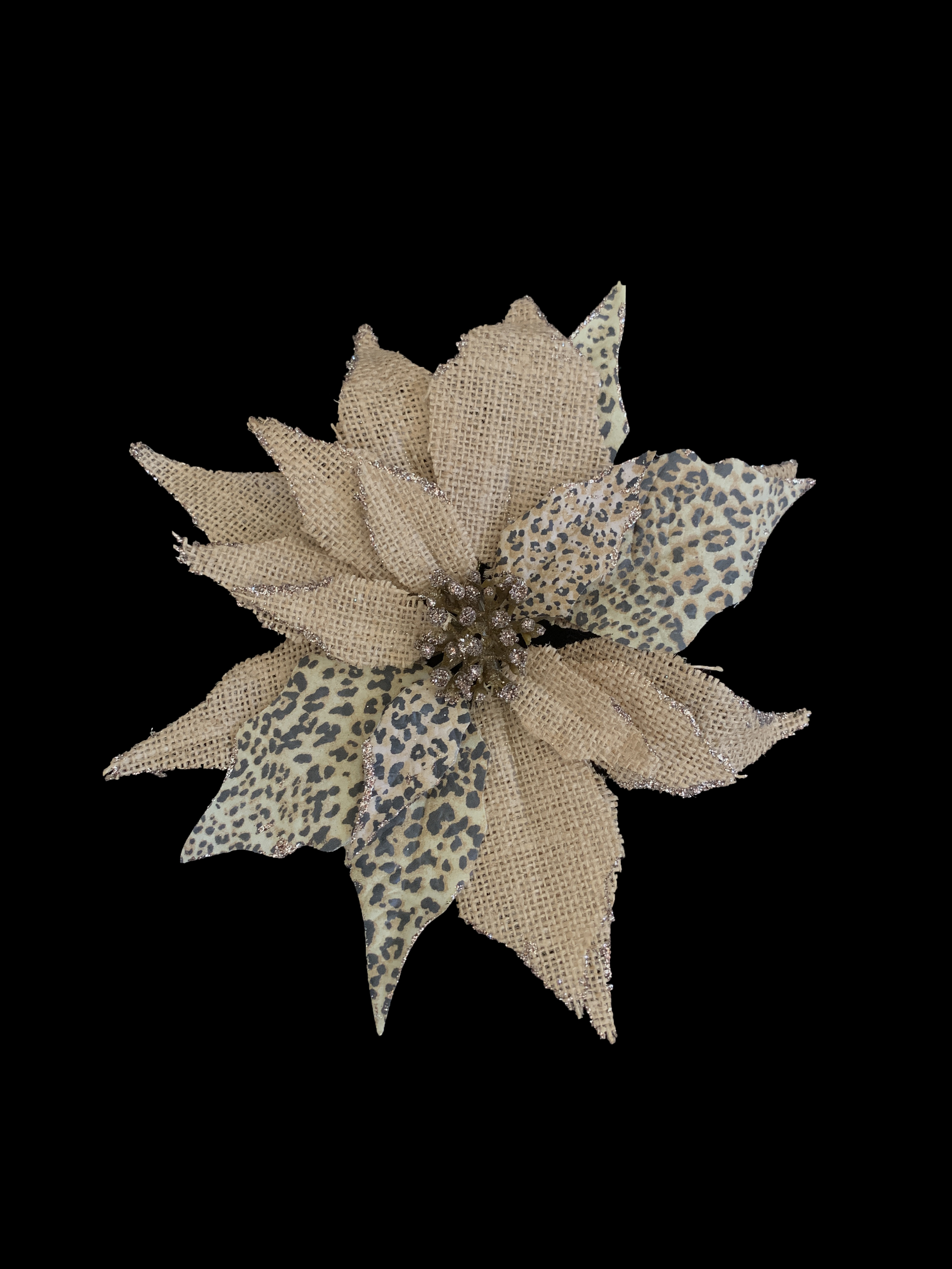 Clip on Burlap and Leopard Patterned Poinsettia Ornament