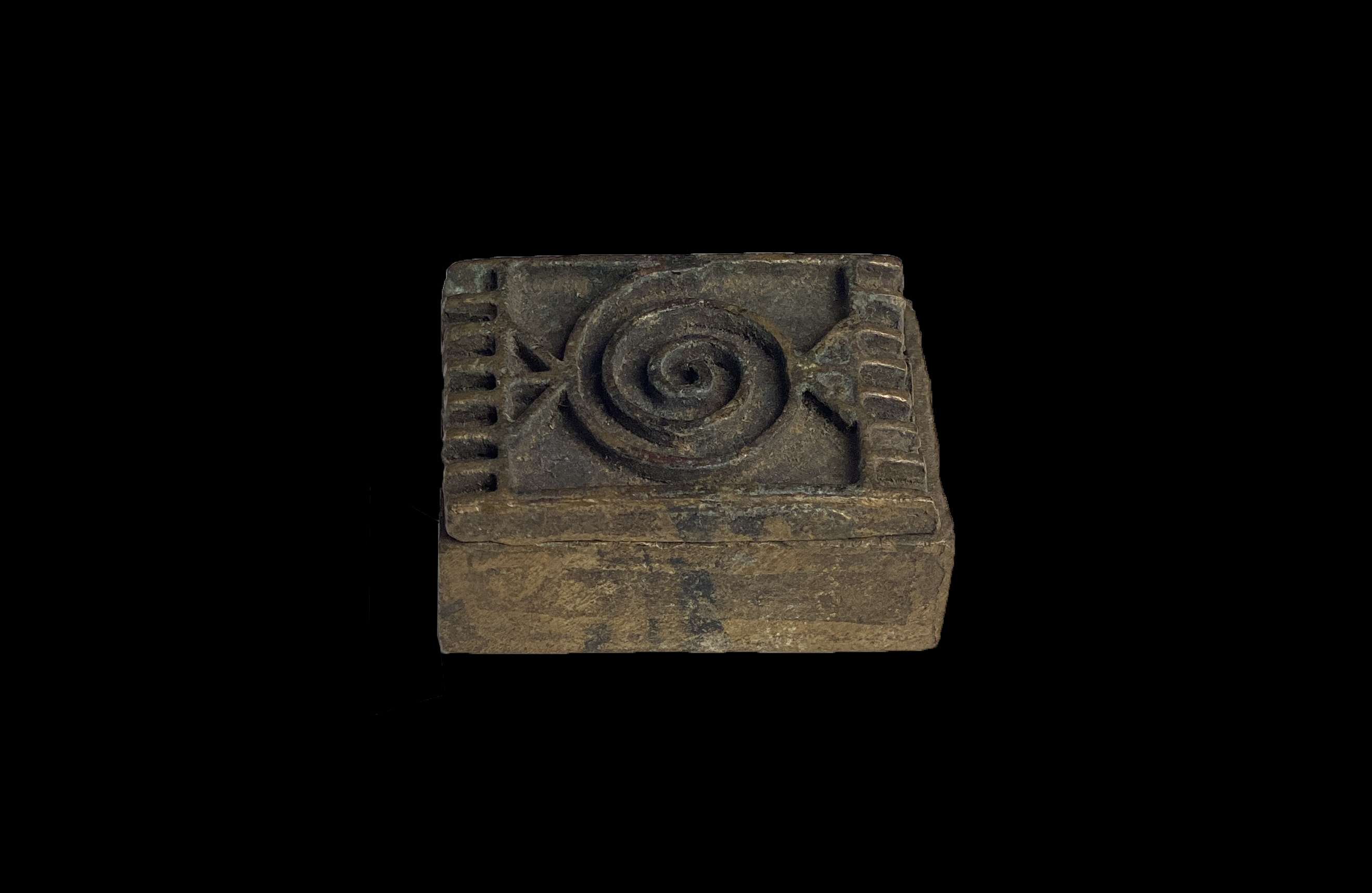 Bronze Box with Spiral Design on Lid - Ashanti People, Ghana