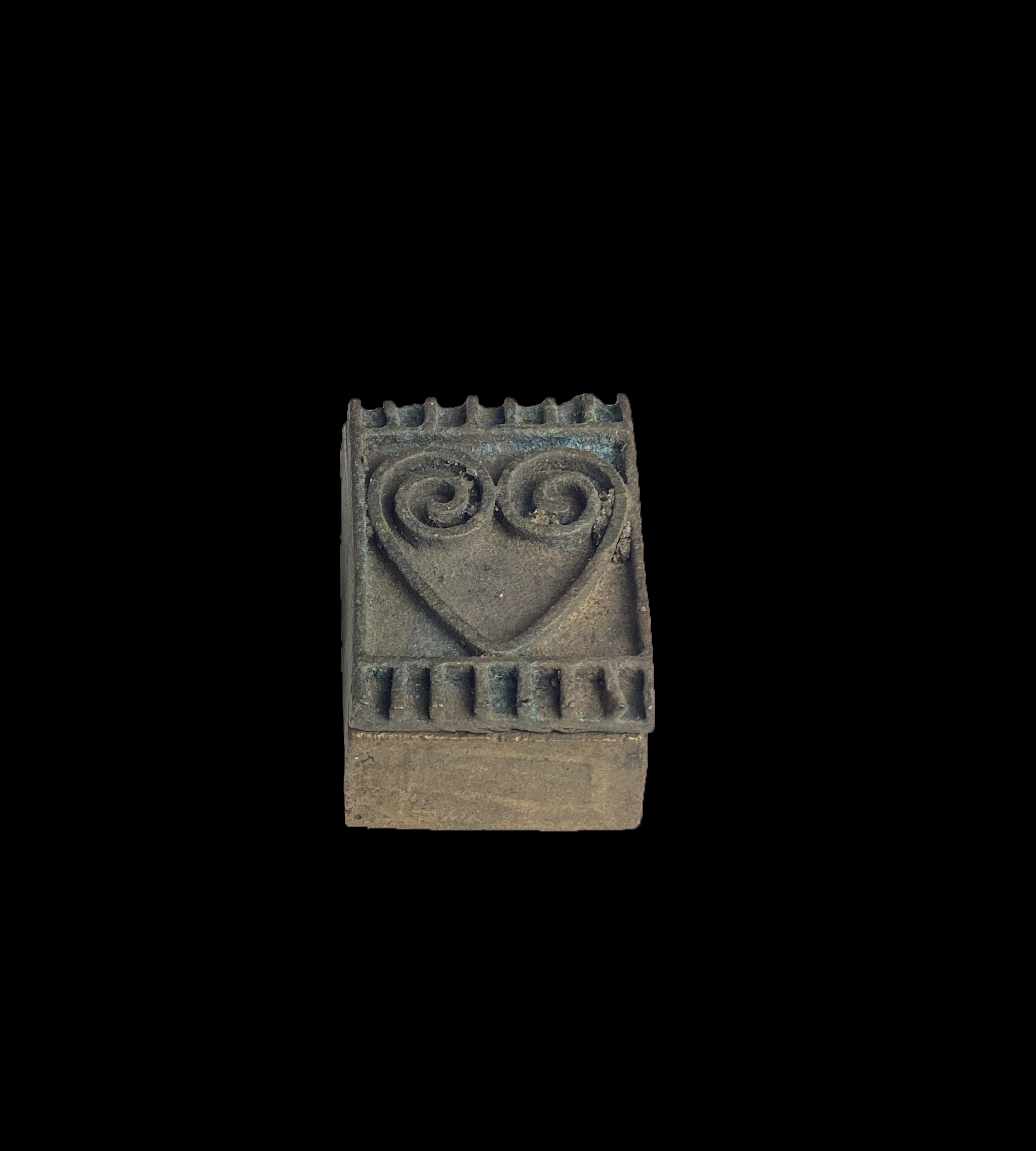 Bronze Box with Heart Design on Lid - Ashanti People, Ghana