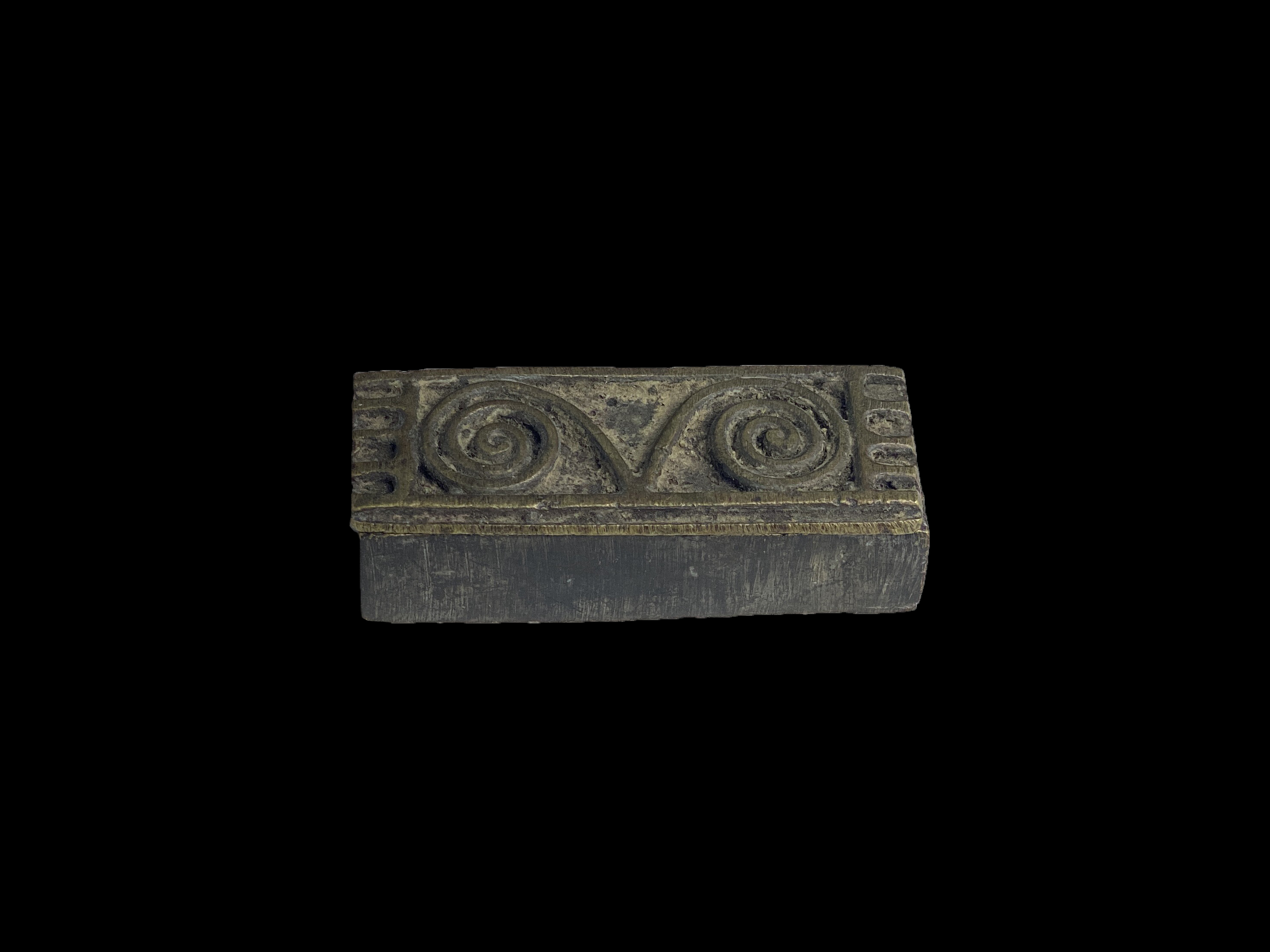Bronze Box with Rams Horns Design on Lid - Ashanti People, Ghana