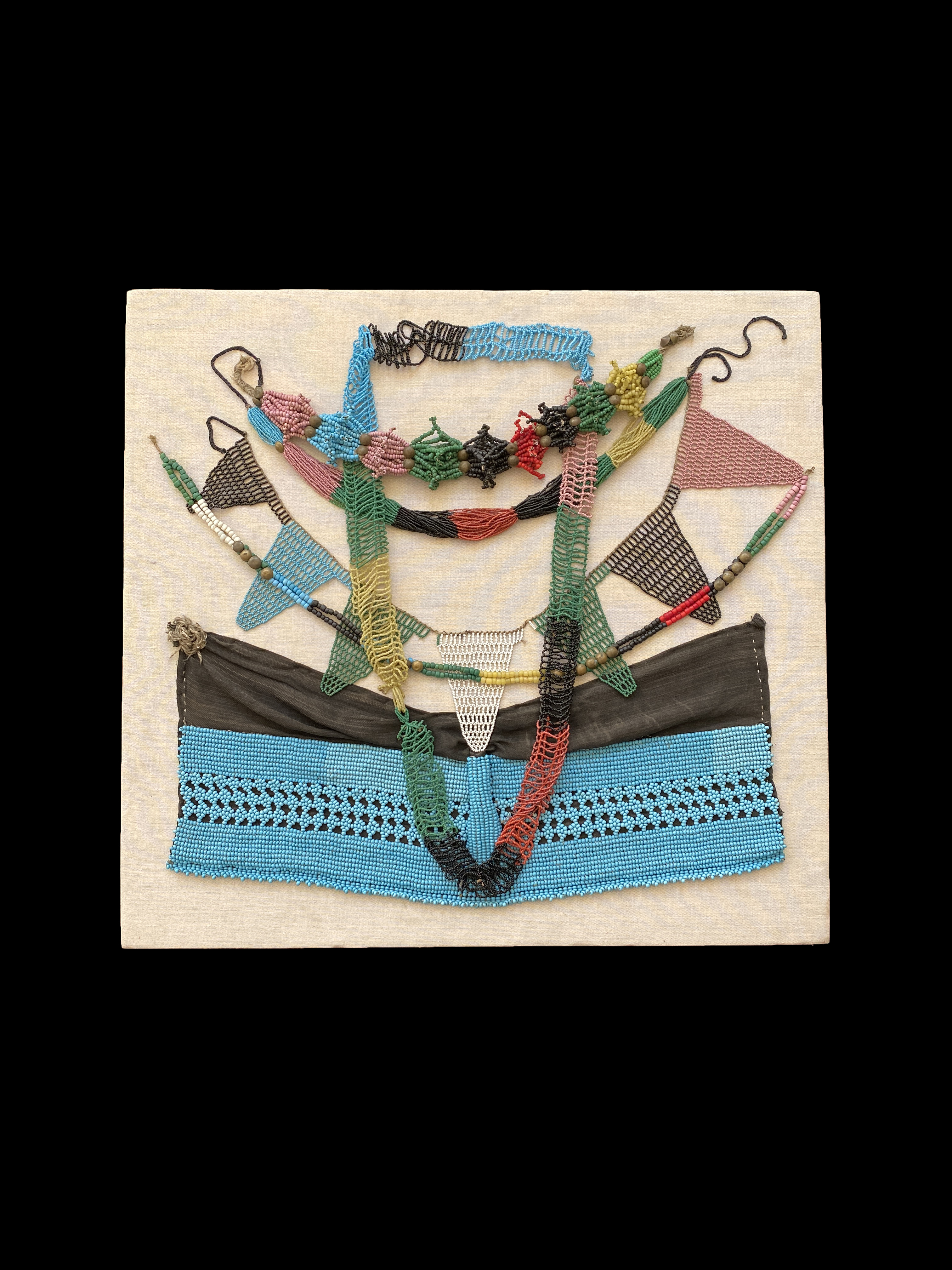Mounted Assemblage of Beaded Traditional Adornments - Zulu People, South Africa