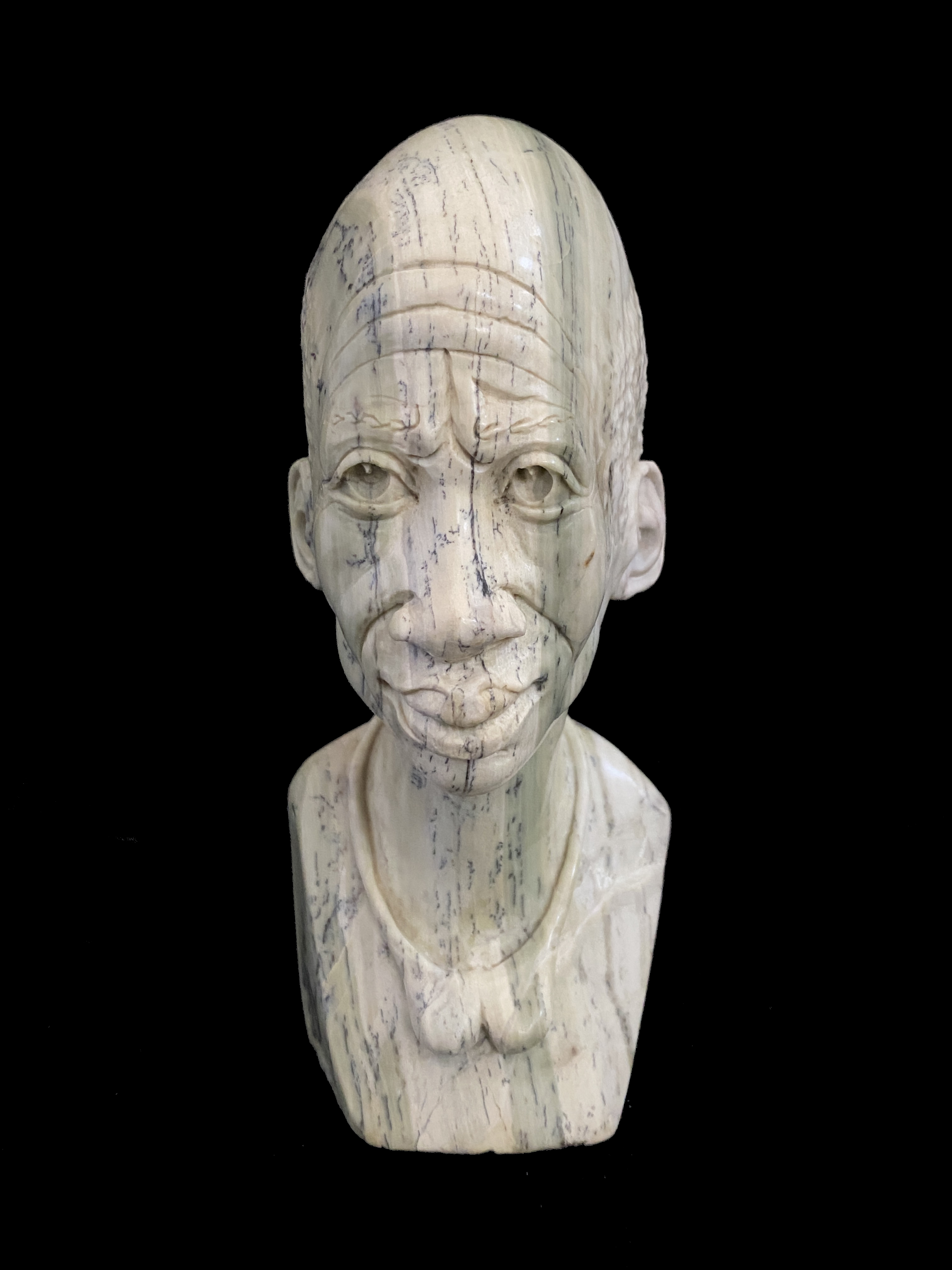 Small Realistic Bust carved from Butter Jade - Zimbabwe