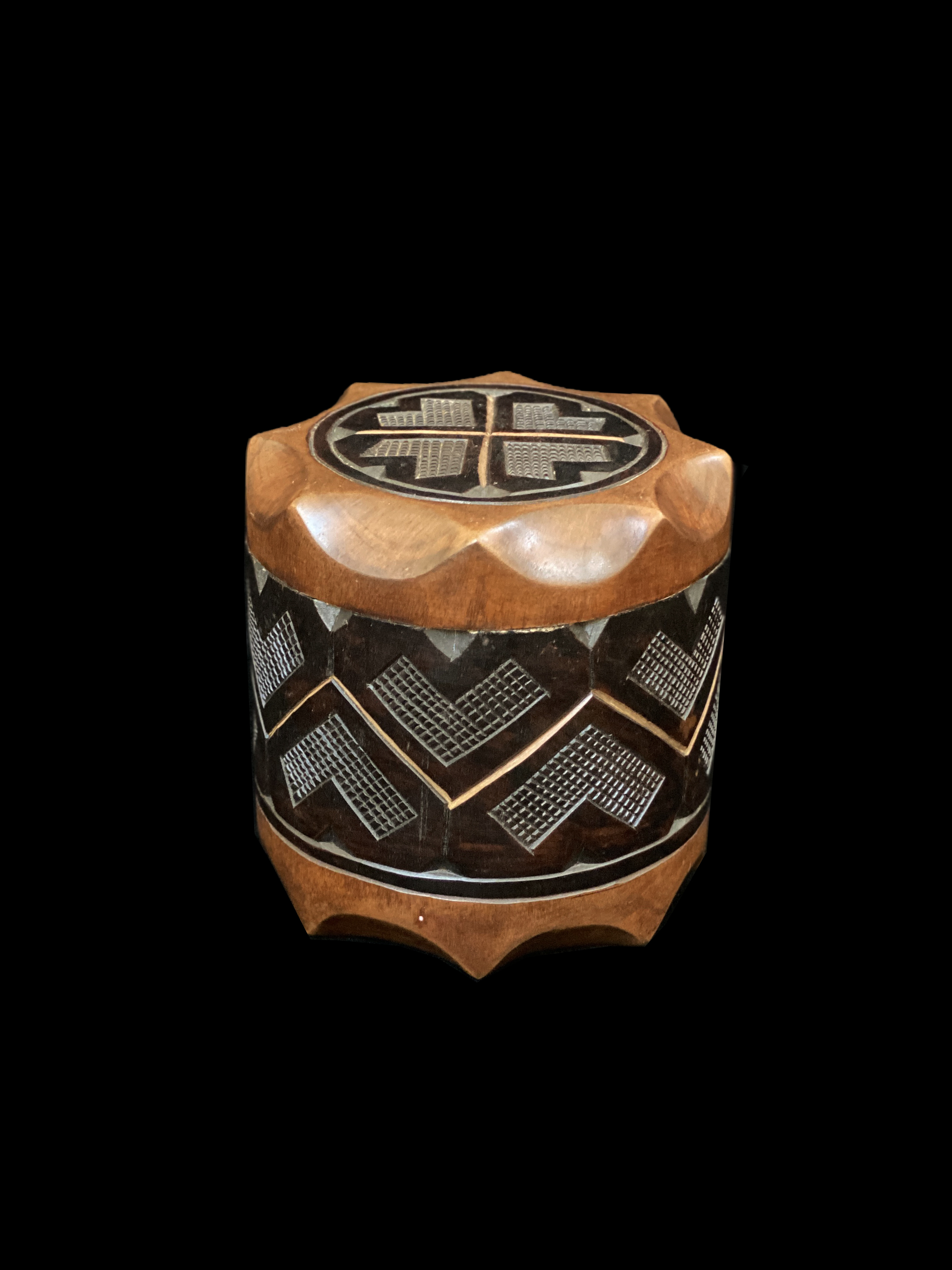 Decorative Hand Carved Wooden Box - Kuba People, D.R. Congo