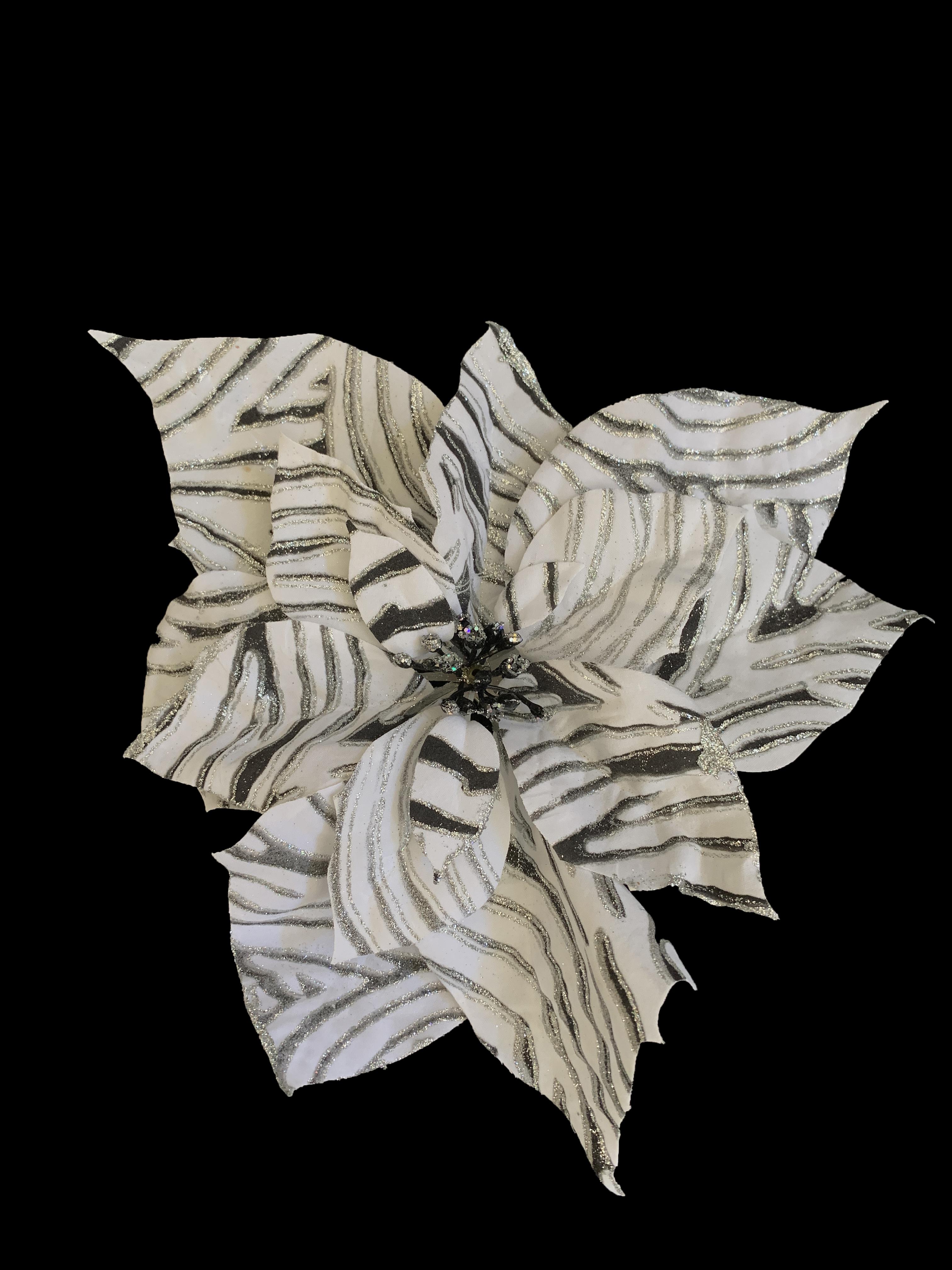 Clip on Zebra Patterned Poinsettia Ornament