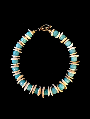 Amazonite, shell necklace with vermeil clasp