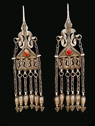 Large Silver & Carnelian Earrings - Turkoman people, Afghanistan (#BR41) - Please contact us for availability