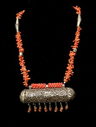 Coral Prayer Box Necklace - Bukhara people, Uzbekistan - BR45