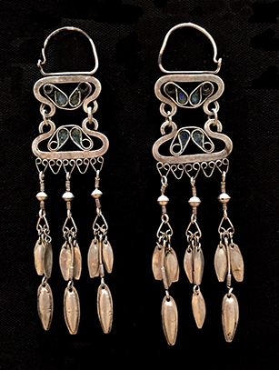 Large Silver Earrings - Turkoman people, Afghanistan (#BR49) - Please contact us for availability