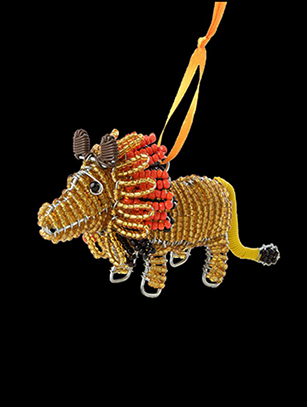 Bead & Wire Lion Ornament - South Africa