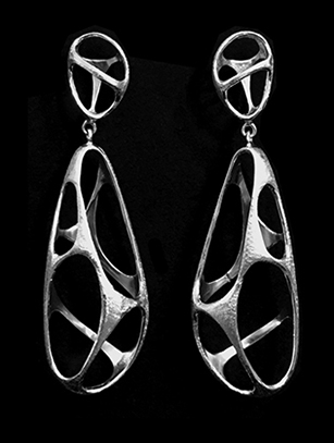 Contemporary Brushed Sterling Silver Earrings