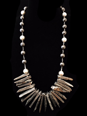 Majorcan Pearls, Sterling Beads, & Electroplated Quartz Necklace (CB32)