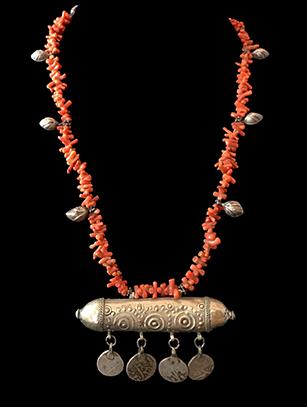 Coral Prayer Box Necklace - Bukhara people, Uzbekistan - BR46