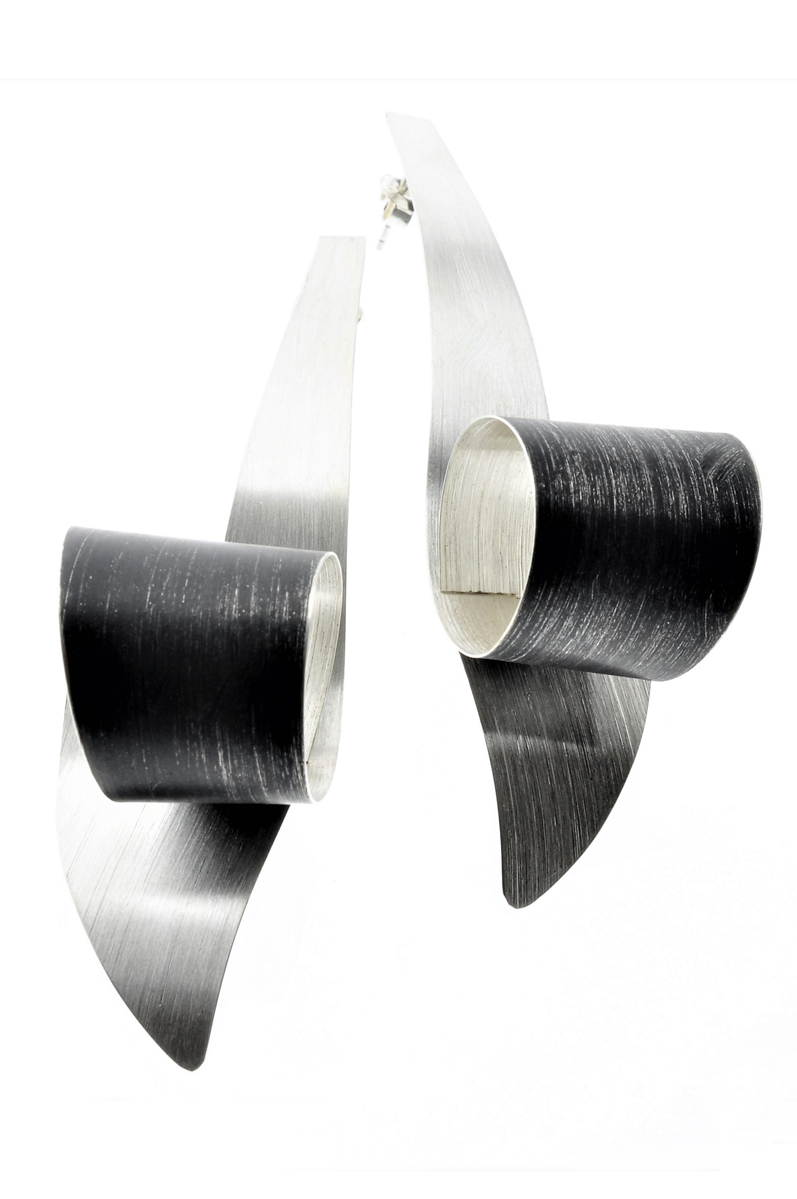 Sterling Silver and Oxidized Swirl Earrings (MP13WOX)