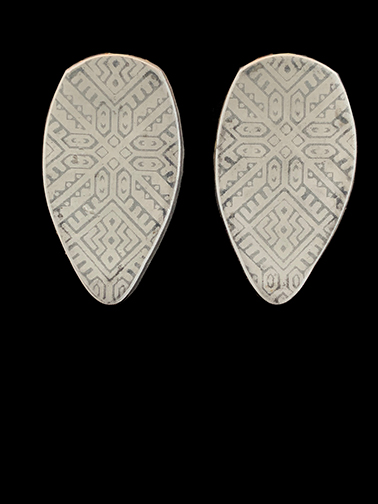Clay Clip Earrings with tribal design. #13