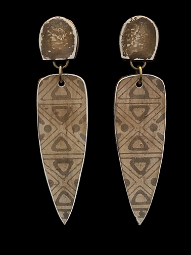 Clay Clip Earrings with tribal design. #24 - special order