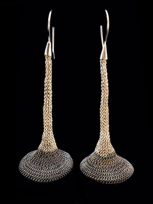 Woven Earrings Plated in Sterling Silver (41WB) -  Temporarily Sold Out - Please Inquire