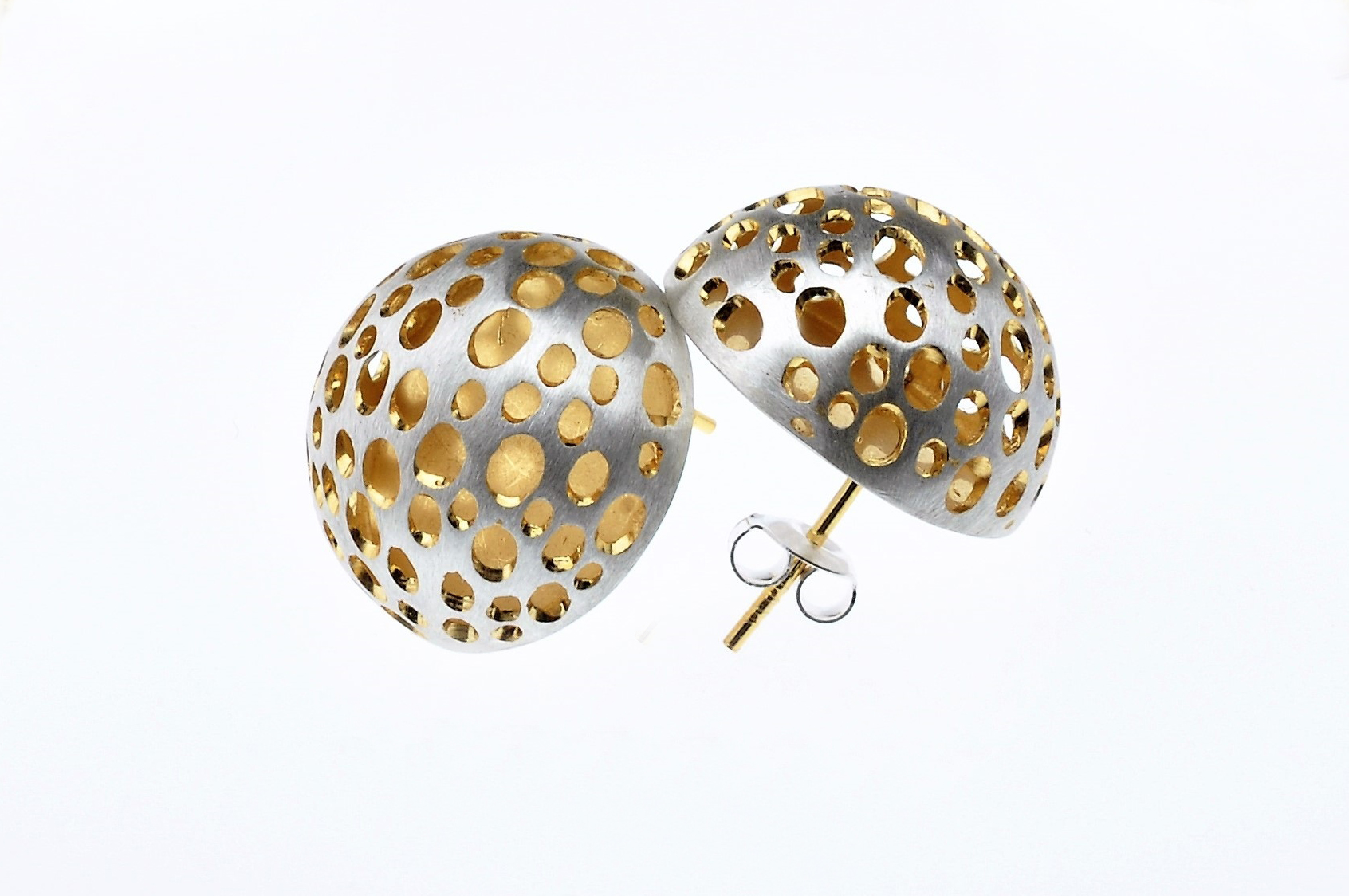 Posted Sterling Silver and Gold Vermeil Earrings - BAS55E -  Sold