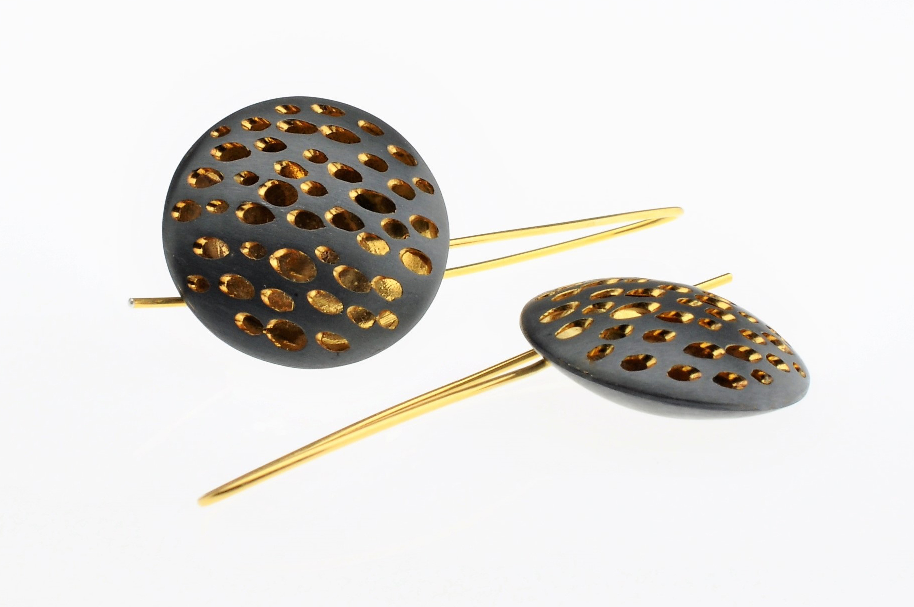 Oxidized Sterling Silver Disc Shaped Hook Earrings with Backplate in Gold Vermeil (BAS65H)- Sold