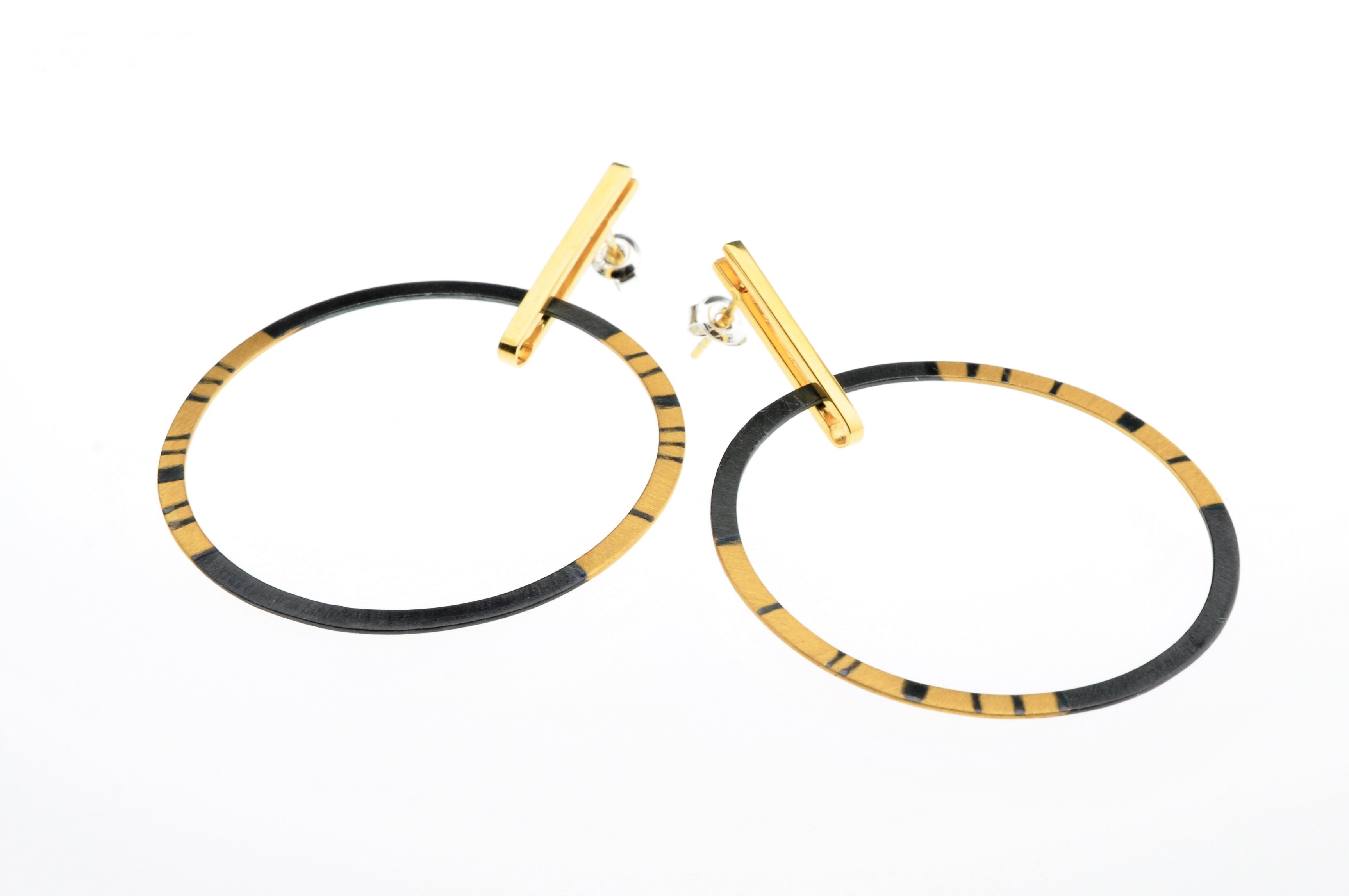 Oxidized Sterling Silver and Gold Vermeil  Circular Posted Earrings (BAS70)- Sold