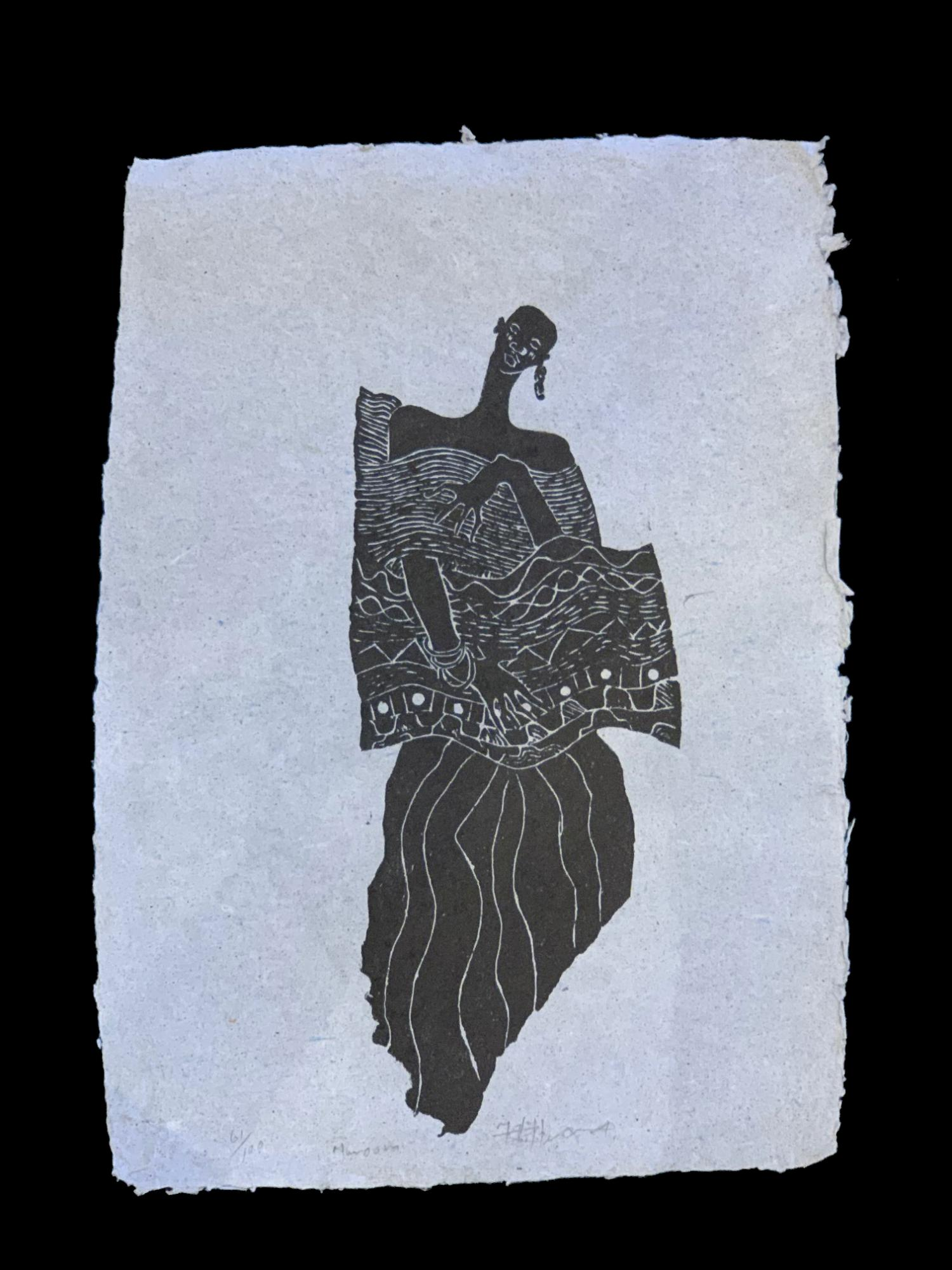 Woman - An etched stone block print ( Signed limited edition # 61/100)by the late Anderson Mukomberanwa