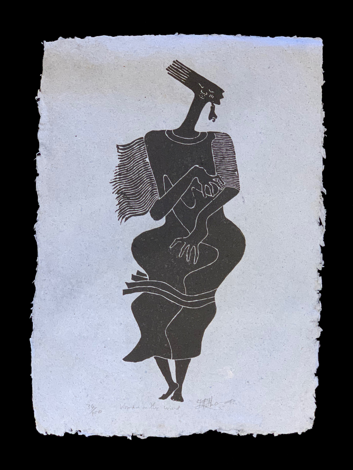 Woman In The Wind - An etched stone block print ( Signed limited edition # 34/100)by the late Anderson Mukomberanwa