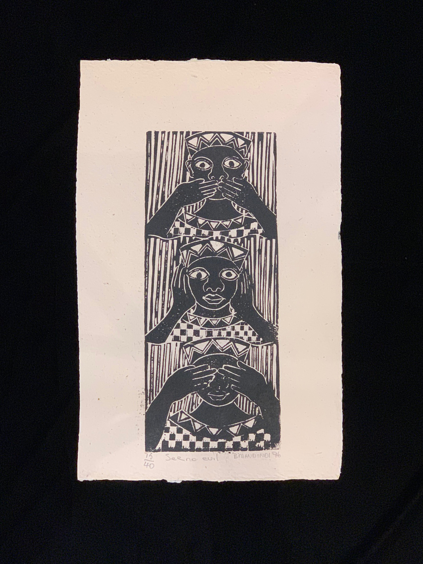See No Evil - a linocut limited edition (15/40) by the late Billy Mandindi