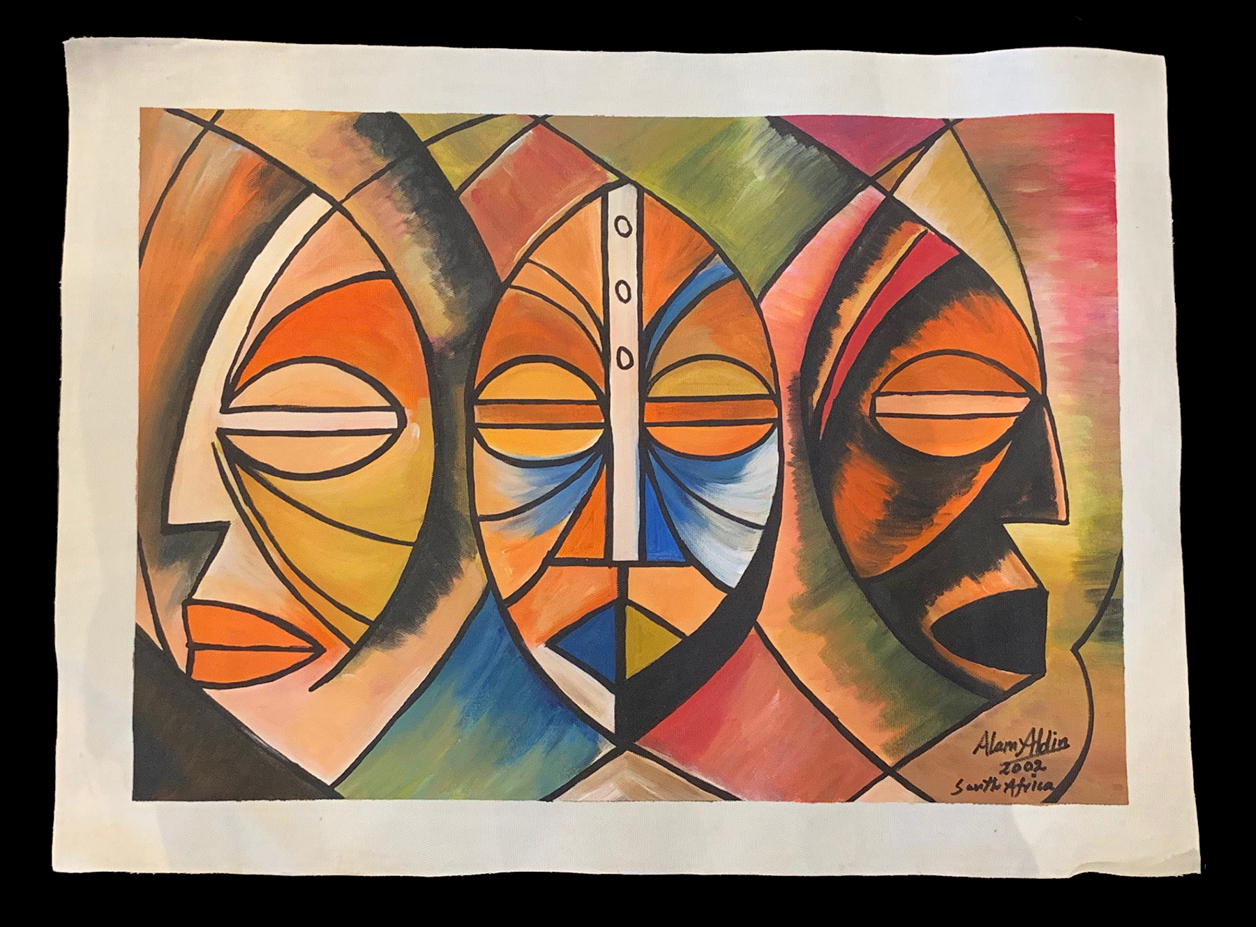 Three Mask Faces - an original painting by Alam Aldin