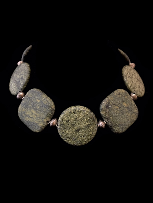 Ancient Greenstone Beads & Sterling Silver Necklace (HM38)