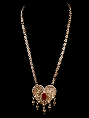Heart-Shaped Silver and Carnelian Necklace - Turkmen people, Central Asia (BR265)
