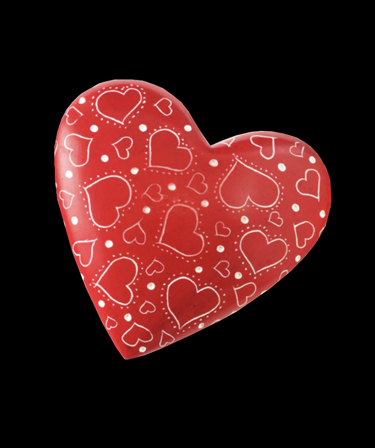 Soapstone heart with heart shapes etched in - Kenya