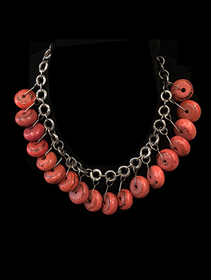 Necklace with sterling silver links and 100 year old glass beads (HM206)