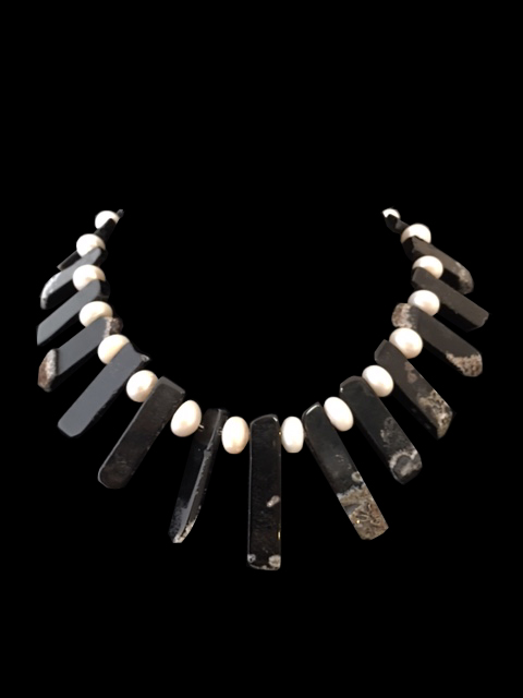 Pearls & Black Agate Necklace (CB26)