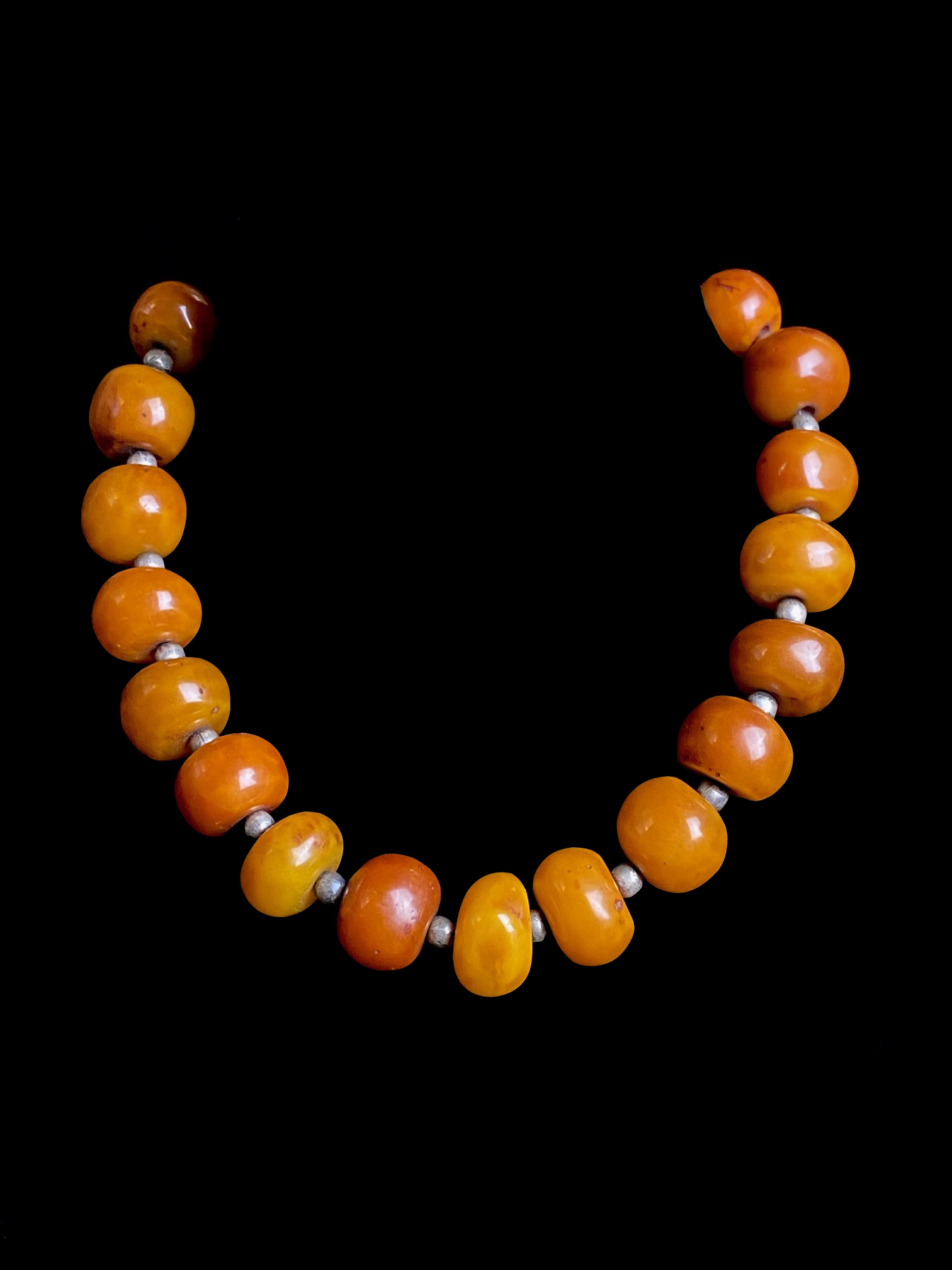Tibetan Amber and Sterling Silver Necklace