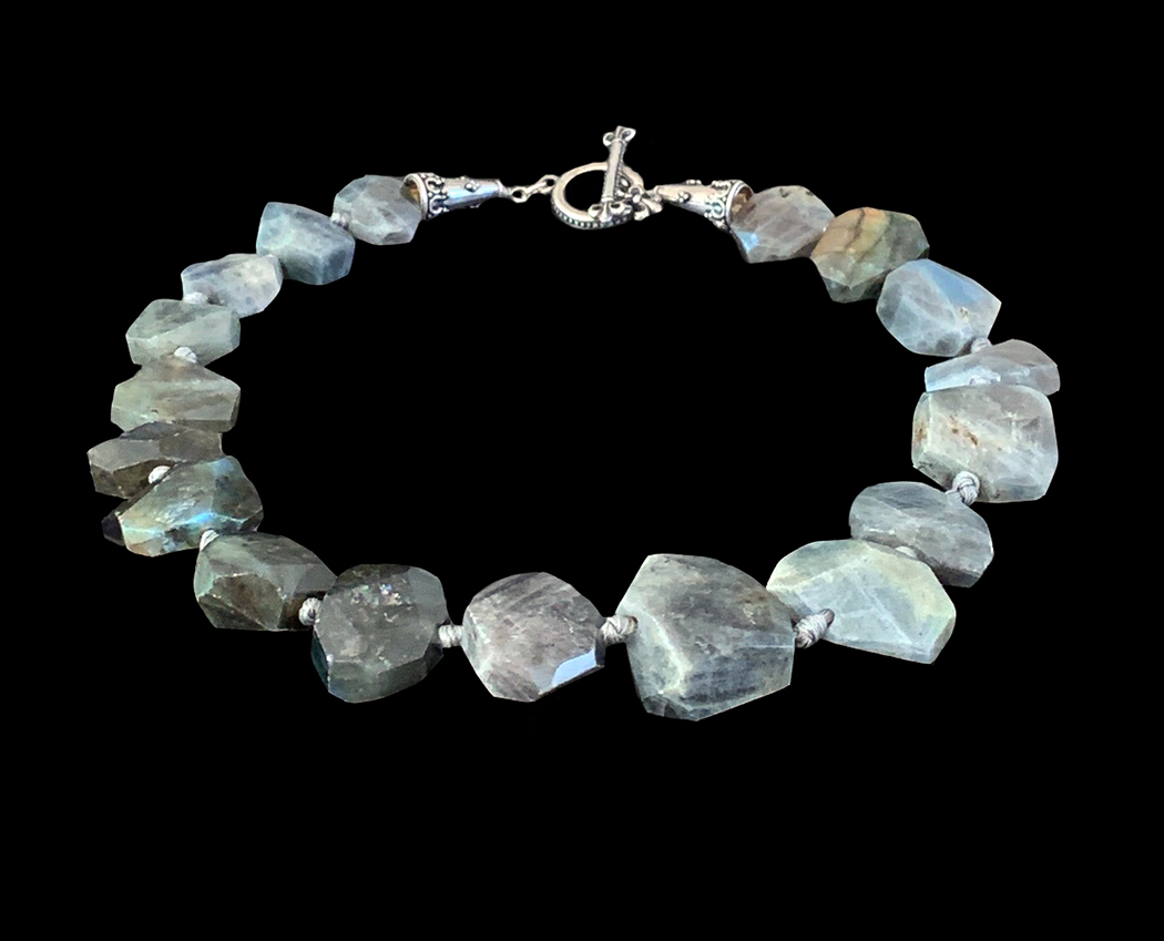 Faceted Labradorite Necklace with Hand Knotted Strands - CBD68