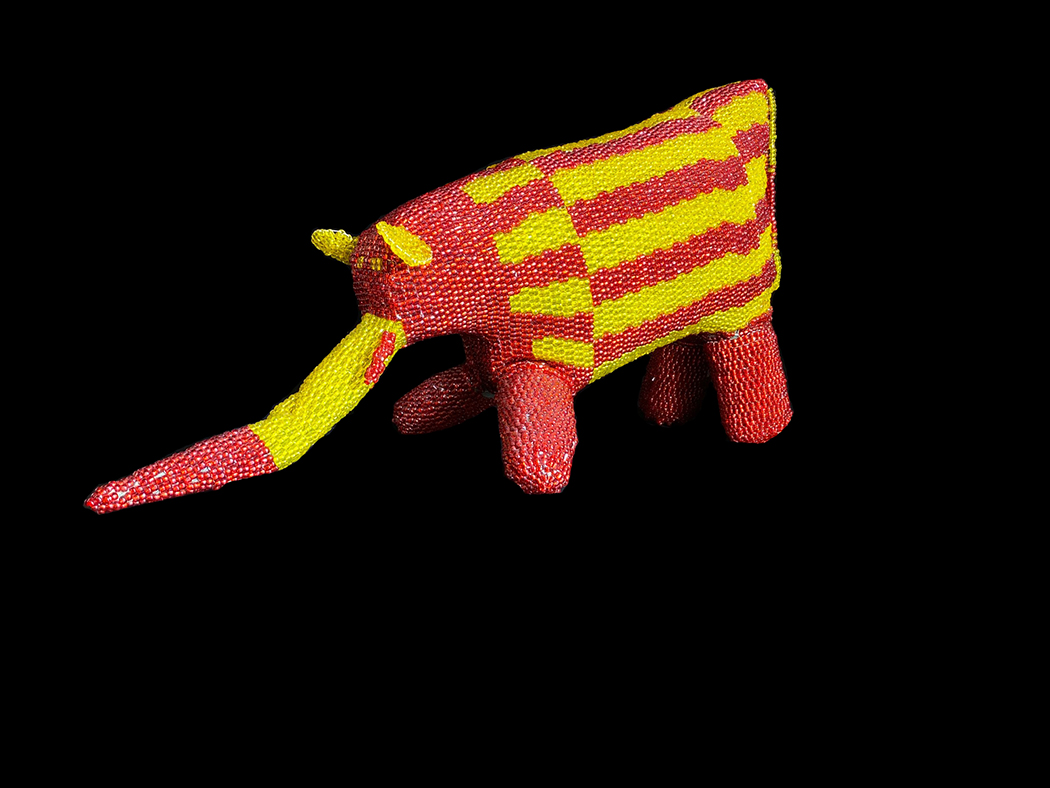 Beaded Red and Yellow Elephant - South Africa